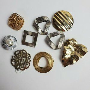 Lot of 9 Scarf Clips Silver Gold Tone Leaf Circle Square Jewelry